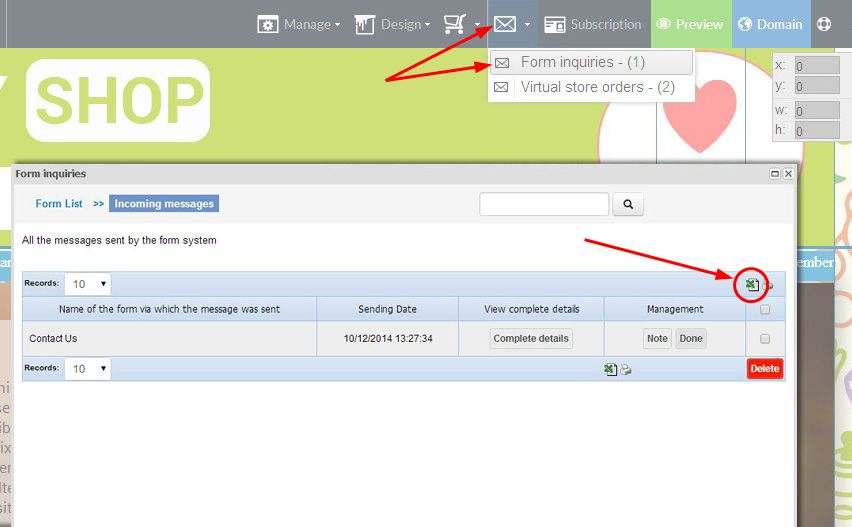 Exporting data from web forms has been improved and converted to CSV format
