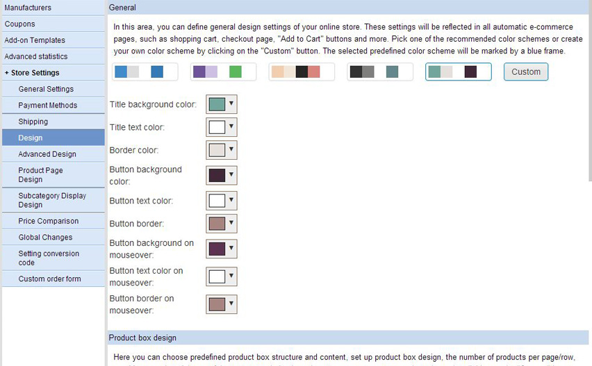 New manageable e-commerce general design settings