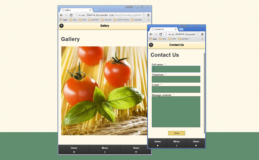 A variety of tools have been adjusted to mobile web app display