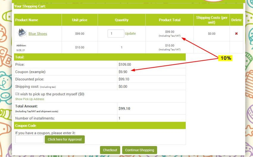 Discount coupon issued for specific products will apply to the product price exclusively