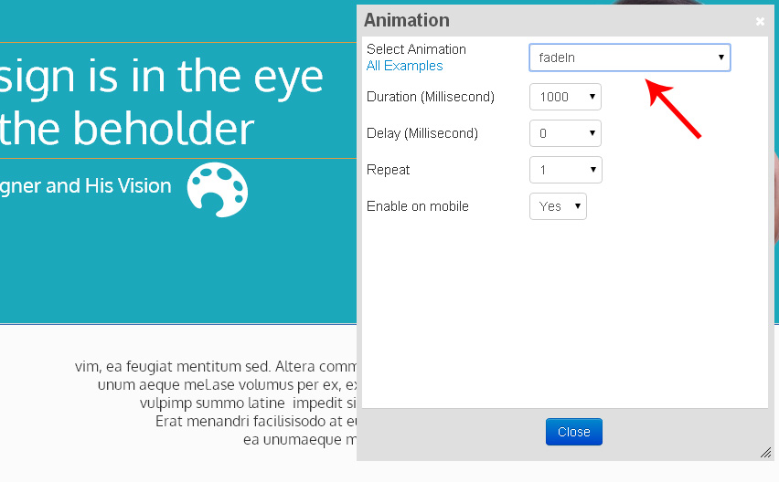 New feature enabling animation of any element in our free float drag-and-drop interface.