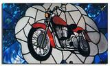 """חלון בחנות האופנועים,""""DREAM CYCLES"""" נעשה ב1990 באמסטרדם. אורך 12מ´."""