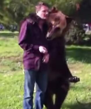 דוב מחבק את המאלף שלו