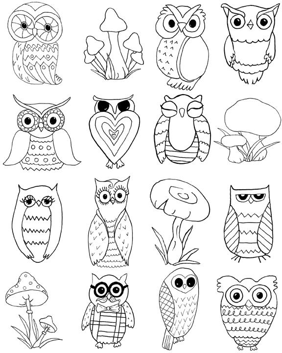 דף צביעה של ינשופים ופטריות