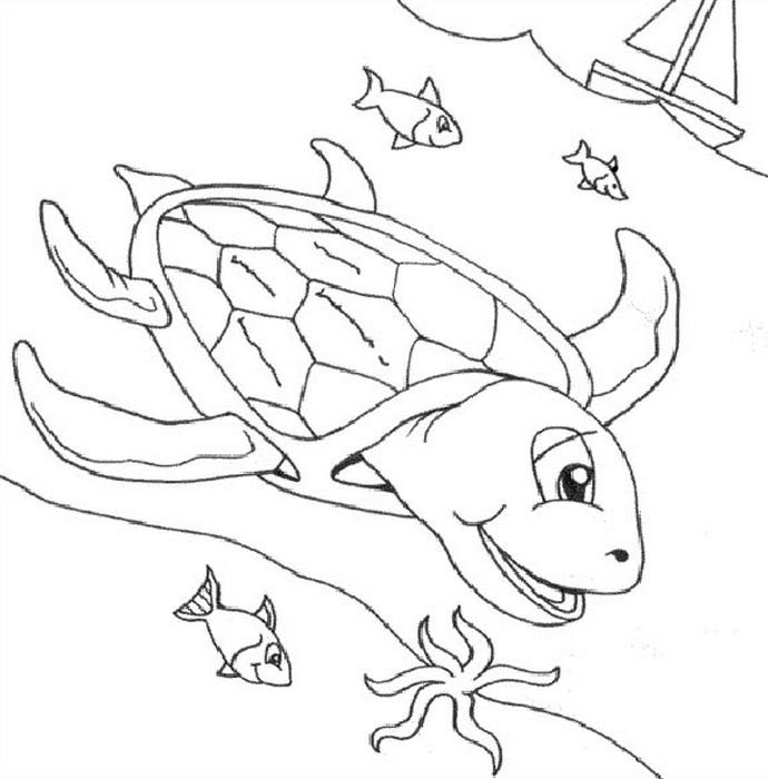 דף צביעה צב מתחת למים