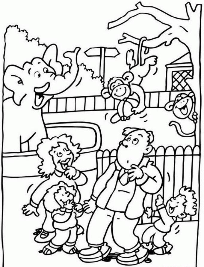 דף צביעה משפחה בגן חיות