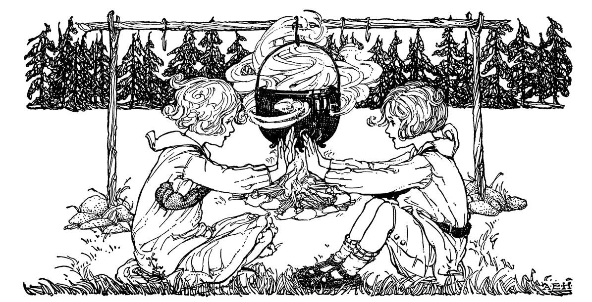 ילדות ליד מדורה
