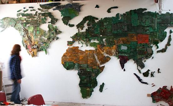 מפת העולם מחלקים פנימיים של מחשב
