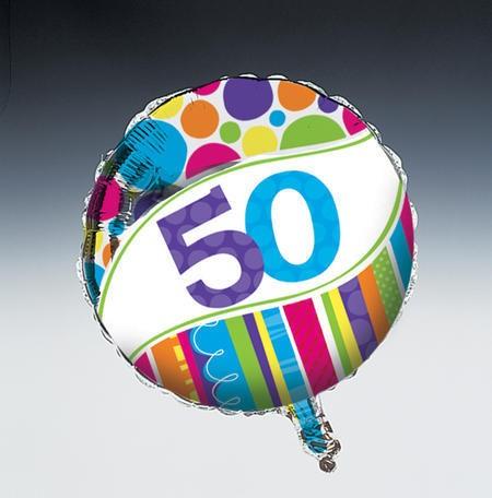 בלון מיילר פסים ונקודות - גיל 50