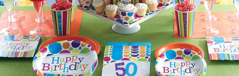 כלים חד פעמיים פסים ונקודות   יום הולדת למבוגרים