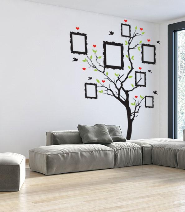 מדבקות קיר לסלון עץ תמונות