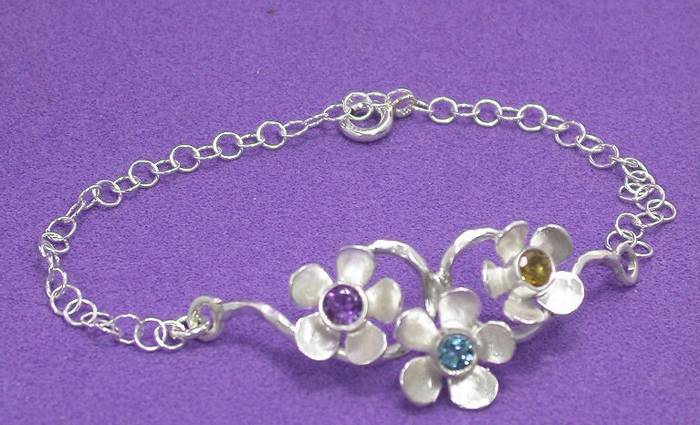 The Three Flowers Silver Bracelet