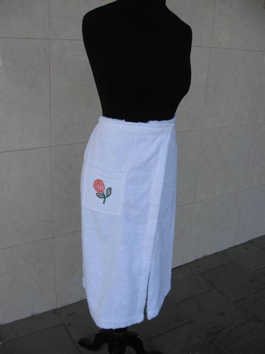 חצי חלוק רחצה מגבת - לקייץ במיוחד, לים, לברכה, לצבא -  מגבת מעטפת עם סקוץ / סקוטש וגומי, מגבת סאונה - ניתן לשדרוג בדנטל / קישוט