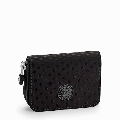 ארנק נשים קטן במיוחד גודל כרטיס אשראי קיפלינג טופס שחור נקודות