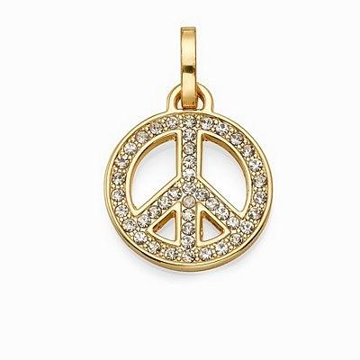 תליון סשה סמל השלום קטן זהב משובץ לבן