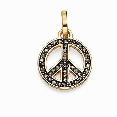 תליון סשה סמל השלום קטן זהב משובץ שחור