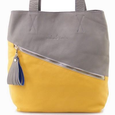 תיקים לנשים תיק נטע שדה סל עזריאלי אפור צהוב