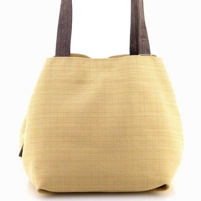 תיקים לנשים בד משולב עור מירב שגב קוביה צהוב