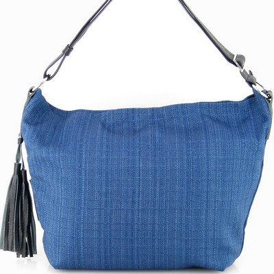 תיקים לנשים בד משולב עור מירב שגב פונפון כחול