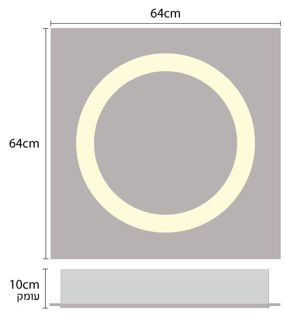 גוף תאורה שקוע תקרה לד בצורת טבעת בינונית