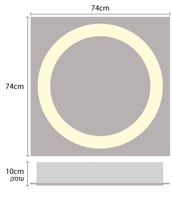 תאורה שקועת תקרה לד בצורת טבעת להארת חללים גדולים