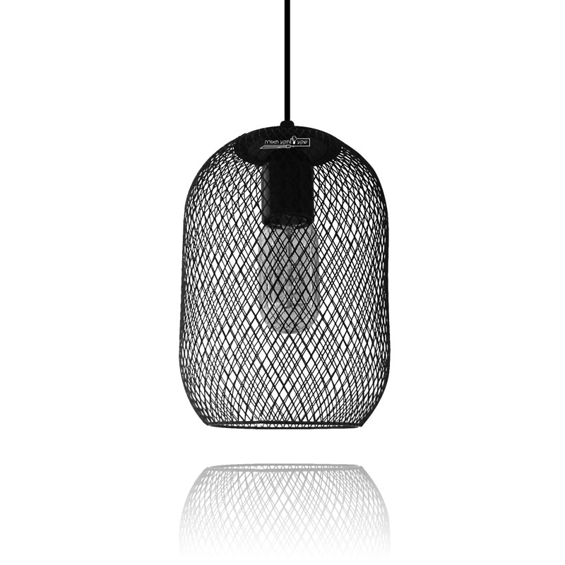 גוף תאורה אובלי בצבע שחור עשוי מרשת