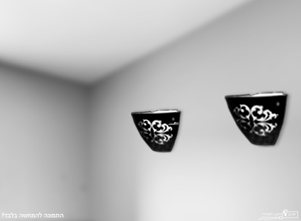 צמוד תקרה שחור עם עיטור לבן