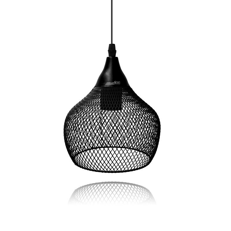 גוף תאורה מרשת מתכתית שחורה לתאורת אי